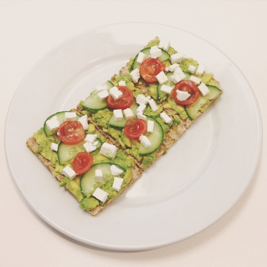 Avocado, feta, tomato and cucumber Ryvitas for lunch