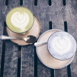 Matcha and butterfly lattes